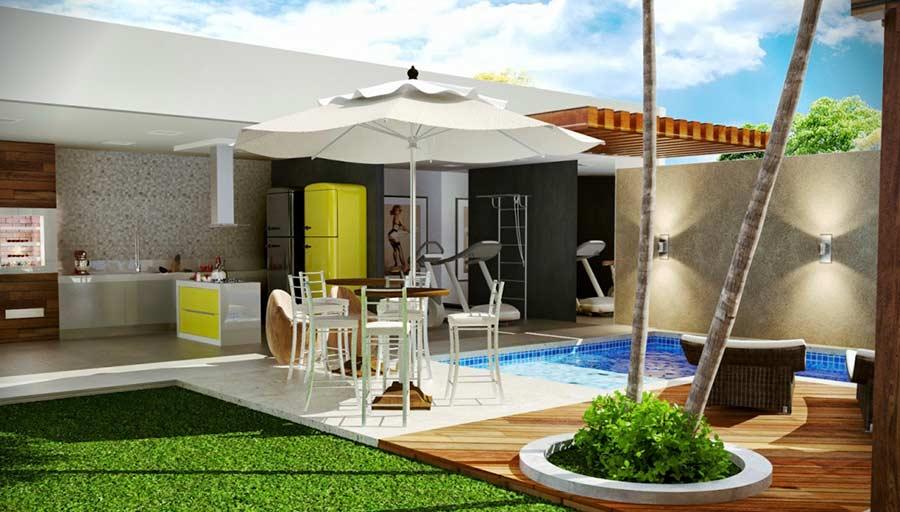 Área de lazer com piscina e quintal