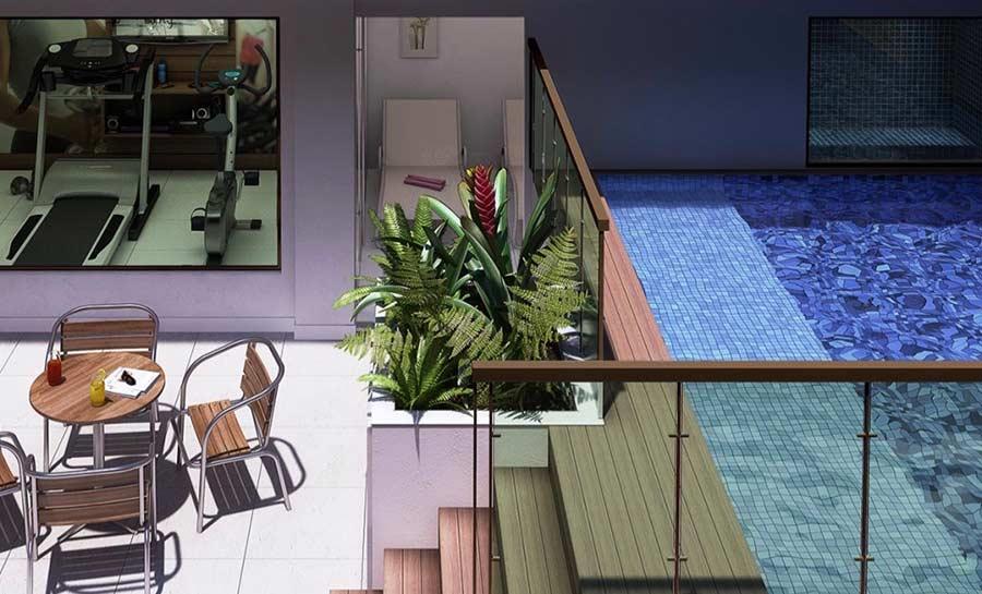 Área de lazer com piscina e academia