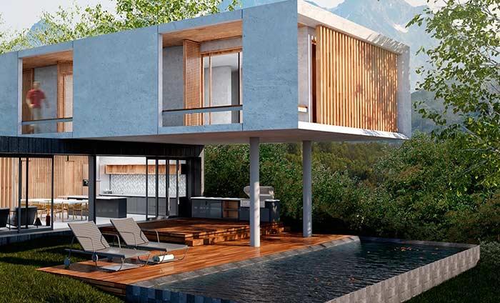 Área gourmet integrada com a piscina