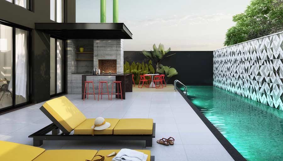 A arquitetura jovial se encontra nos materiais e no contraste das cores