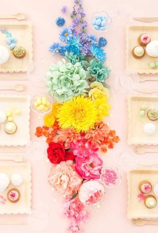 Arranjos de flores em degradê
