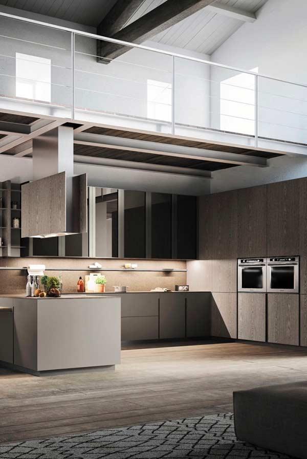 Cozinha com diferentes tipos de materiais