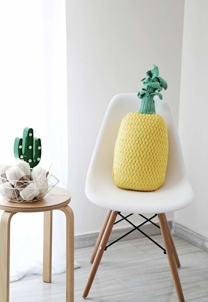 Textura e formato de abacaxi em crochê