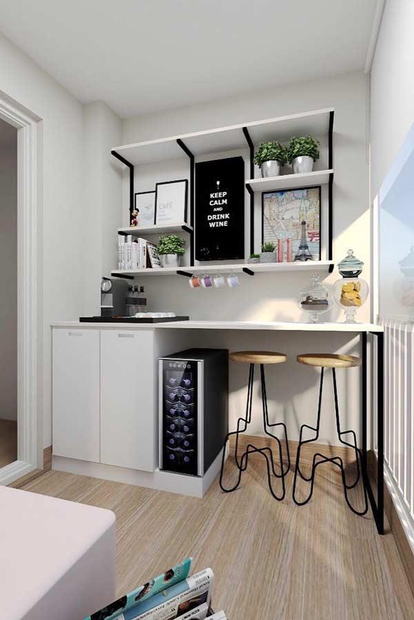 O cantinho do café pode ser uma boa opção para aproveitar o espaço em uma varanda pequena