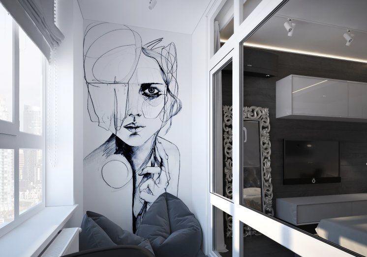 Aposte em uma arte ou ilustração na parede para mudar o visual da varanda