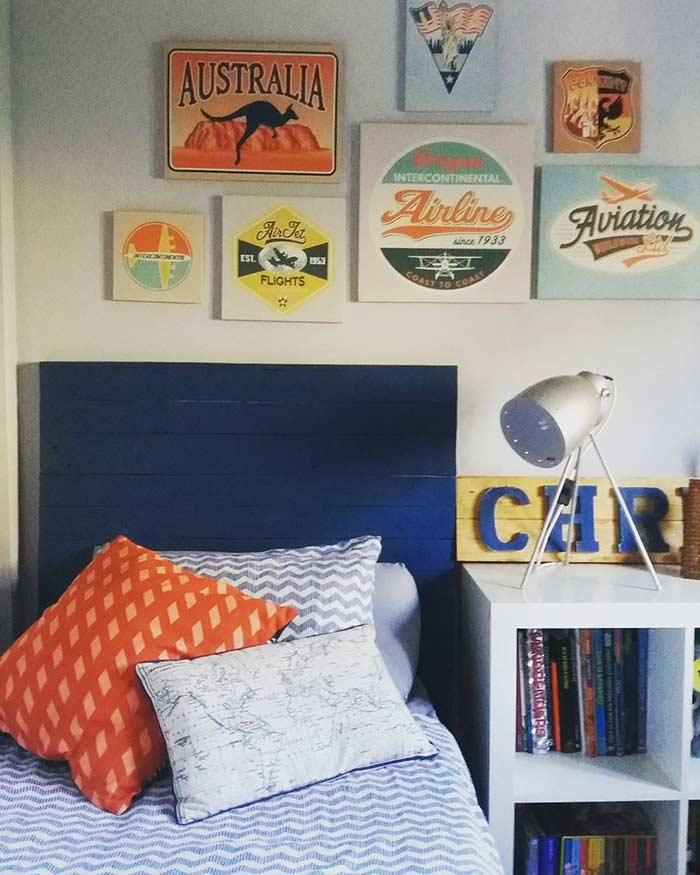 Cabeceira de pallet azul marinho