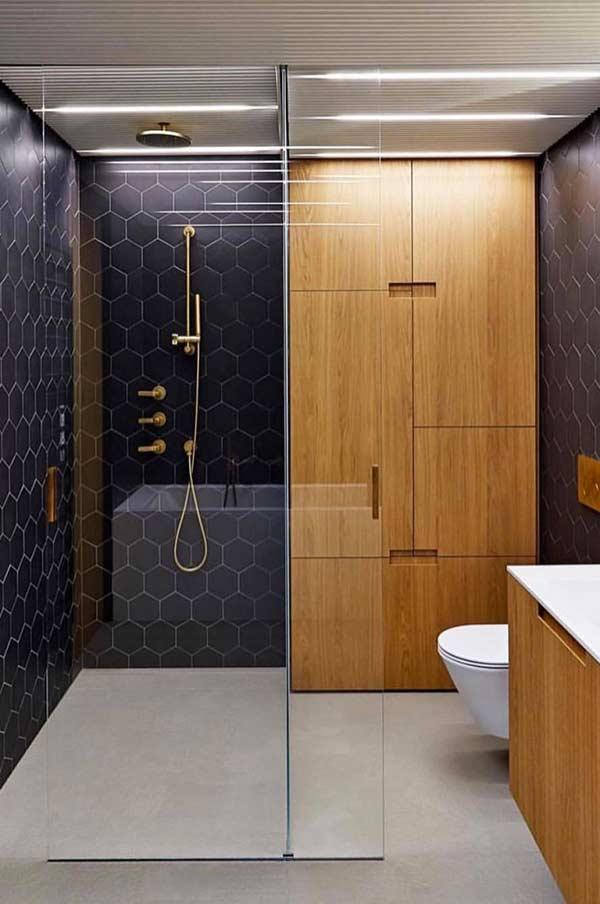 Banheiro com piso cinza
