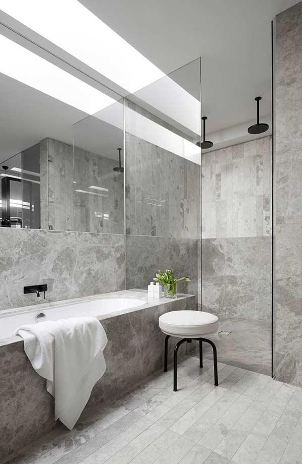 Piso para banheiro com mármore cinza
