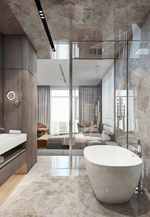 Banheiro com piso de mármore