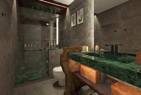 Banheiro com piso verde esmeralda