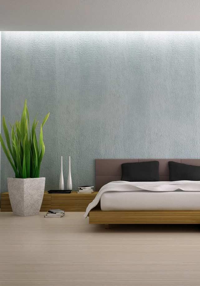 Outro exemplo de vasão: dessa vez decorando um quarto predominantemente frio e reto