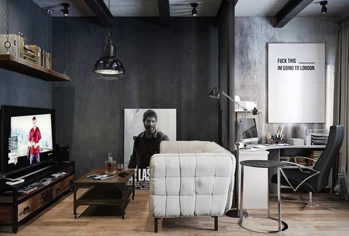 Ambiente masculino com quadros decorativos