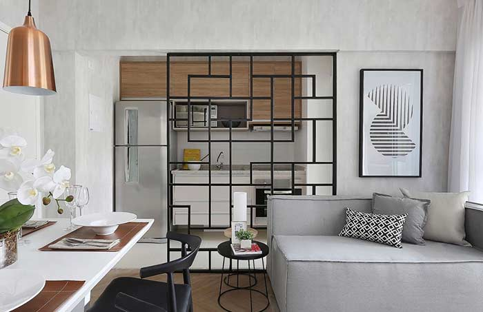 Quadro decorativo abstrato em preto e branco