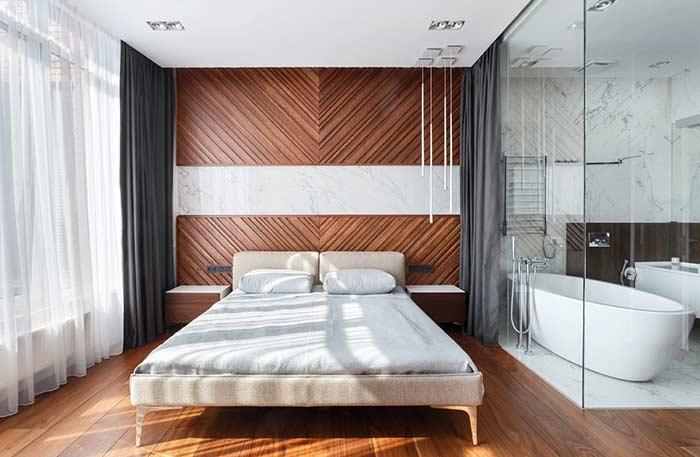 Combinação elegante entre mármore e madeira