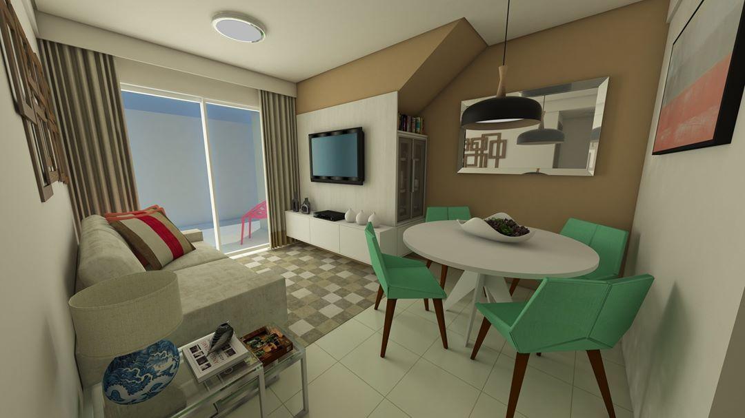 Sala pequena decorada simples