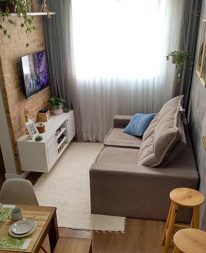 Decoração de sala pequena bem arrumado