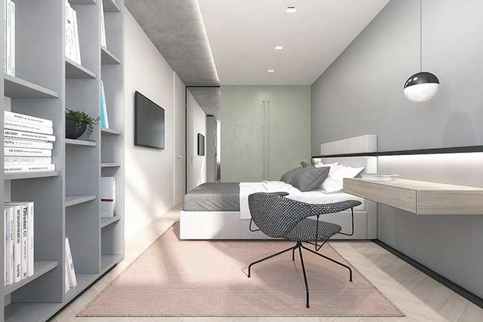 Cores suaves predominam o visual do quarto
