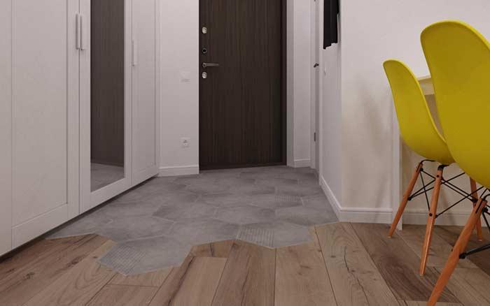 A mistura de pisos cria um destaque para a residência