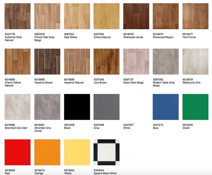 Tabela com cores do piso Tarkett