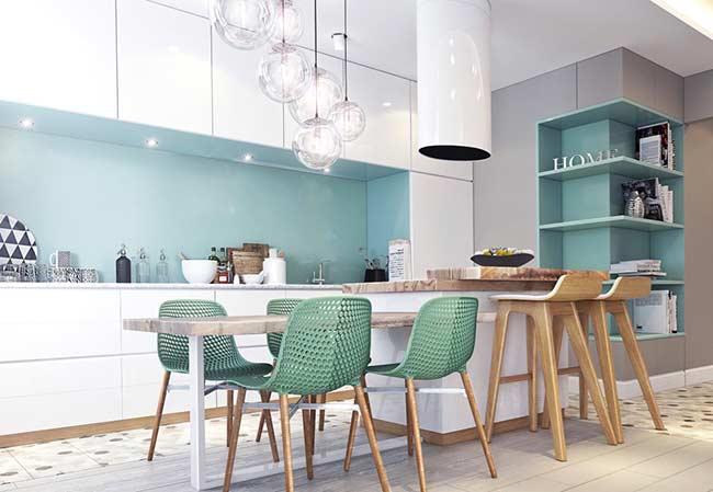 Cozinha branca e azul Tiffany