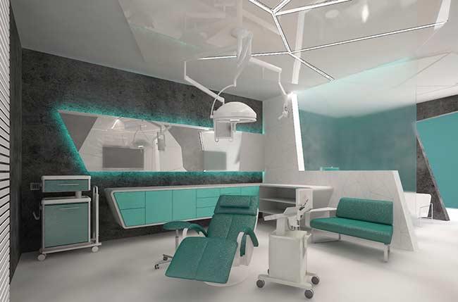 Consultório odontológico com decoração azul Tiffany