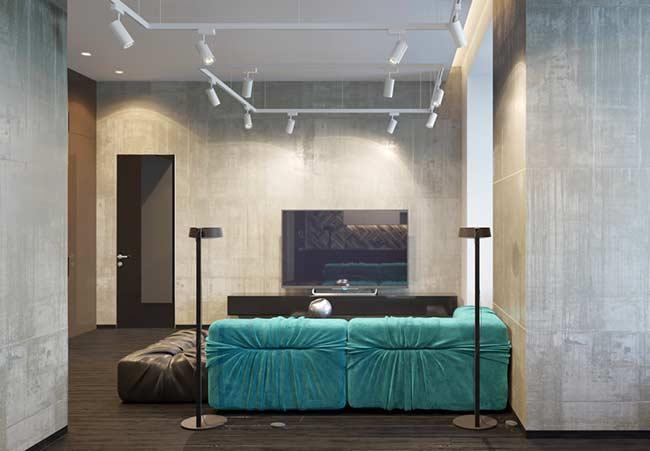 Sala com sofá Azul Tiffany