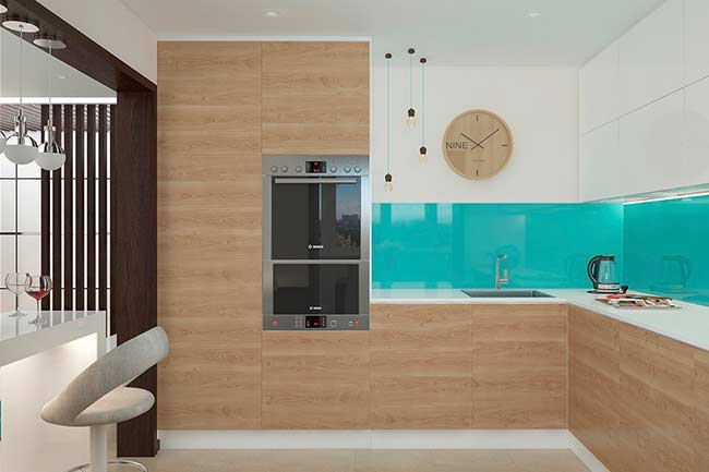 Vidro azul Tiffany na cozinha