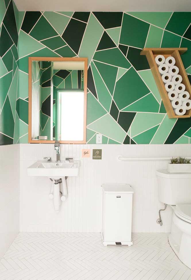 Painel geométrico com vários tons de verde
