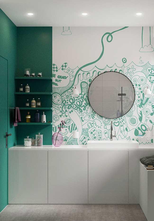 Banheiro branco com verde