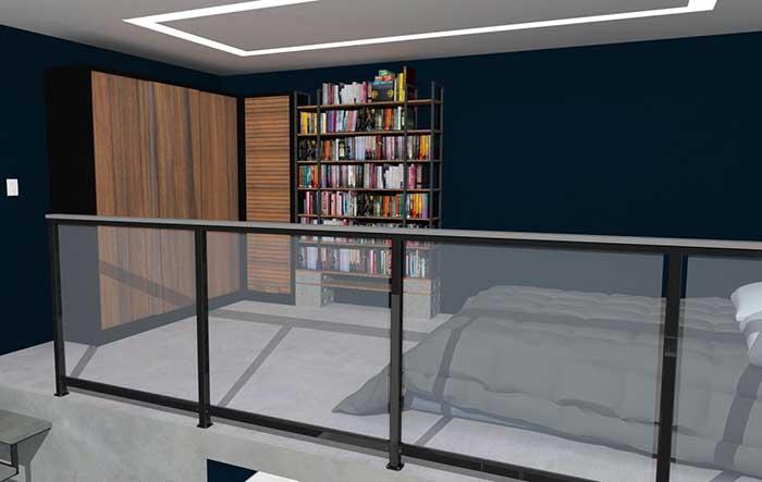 Pequena biblioteca com espaço amplo