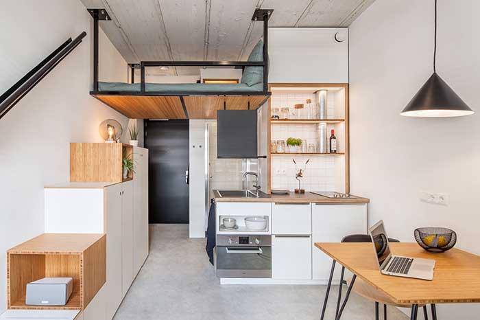 Apartamento estúdio com ótimas soluções