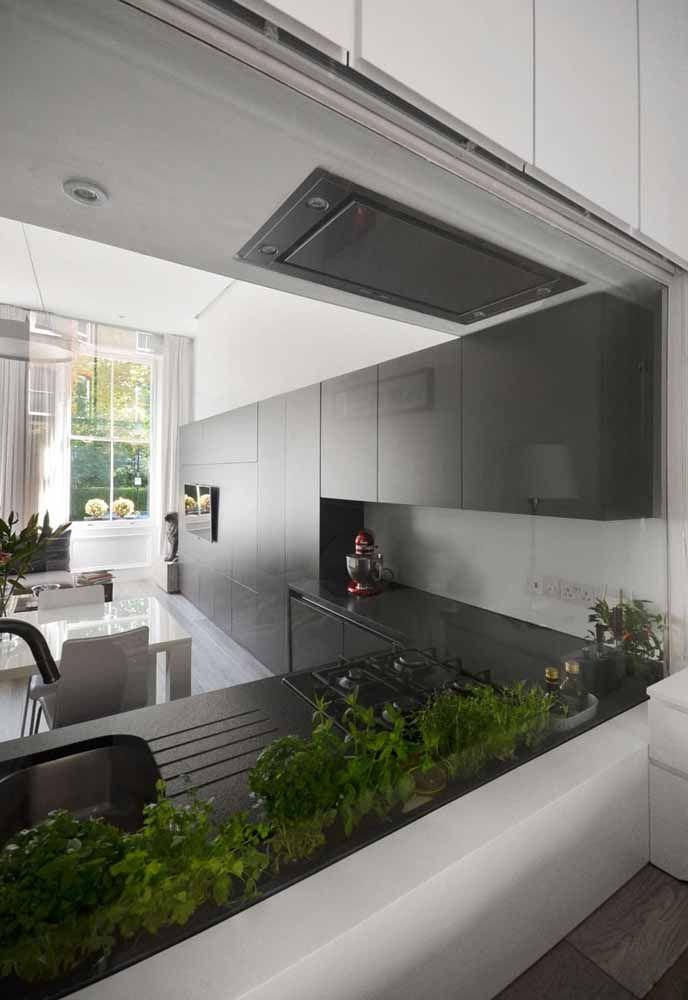 A horta interna se destaca neste projeto de cozinha
