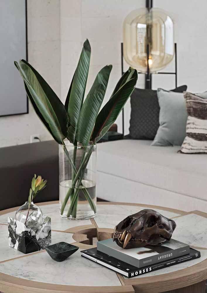 Já os vasos de vidro são ótimas opções para exibir folhas e flores de corte