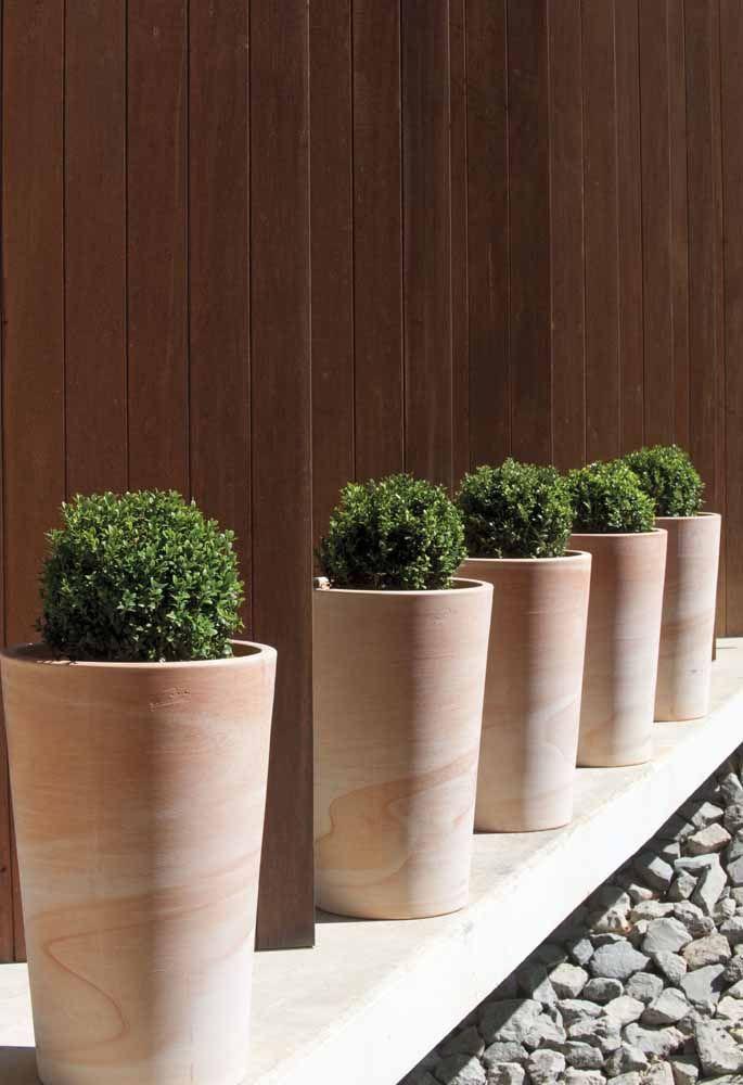 E na entrada da casa um corredor de buchinhas em vasos alongados de efeito marmorizado