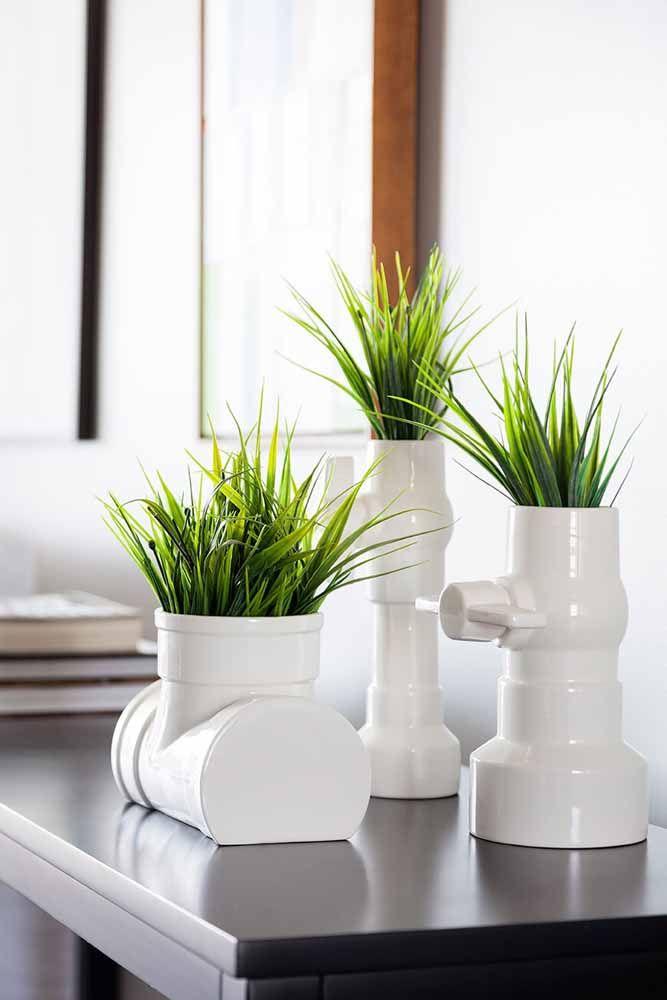 Dá para fazer vaso decorativo com cano também, mas esses aqui são de cerâmica mesmo
