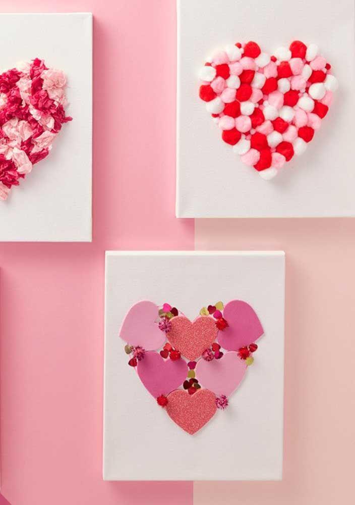 Quadrinhos de coração feitos em EVA; decore as paredes da sua casa com eles