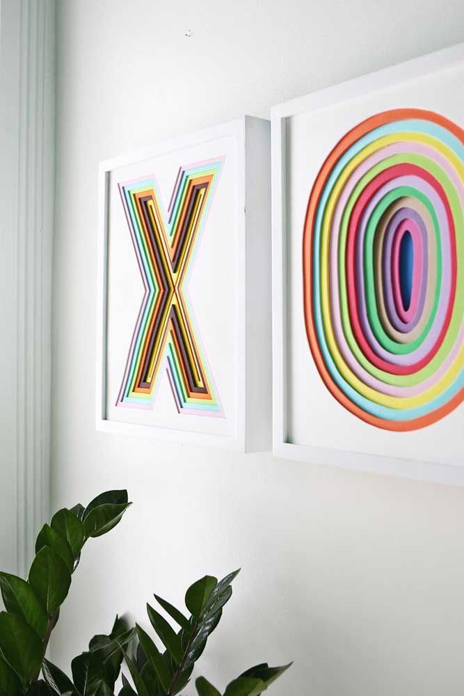 E por falar em quadro, que tal um com efeito óptico em EVA para decorar a sua sala?