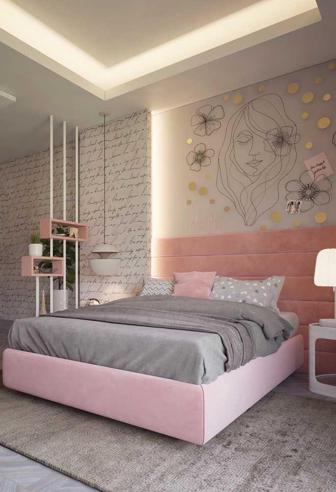 Para aquelas adolescentes que gostam de ambientes mais femininos, aposte em uma decoração mais singela.