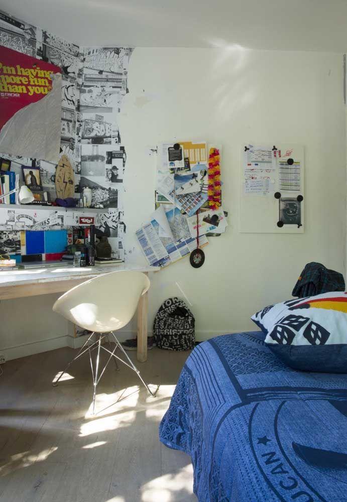 Deixe o adolescente a vontade na hora de decorar o quarto.