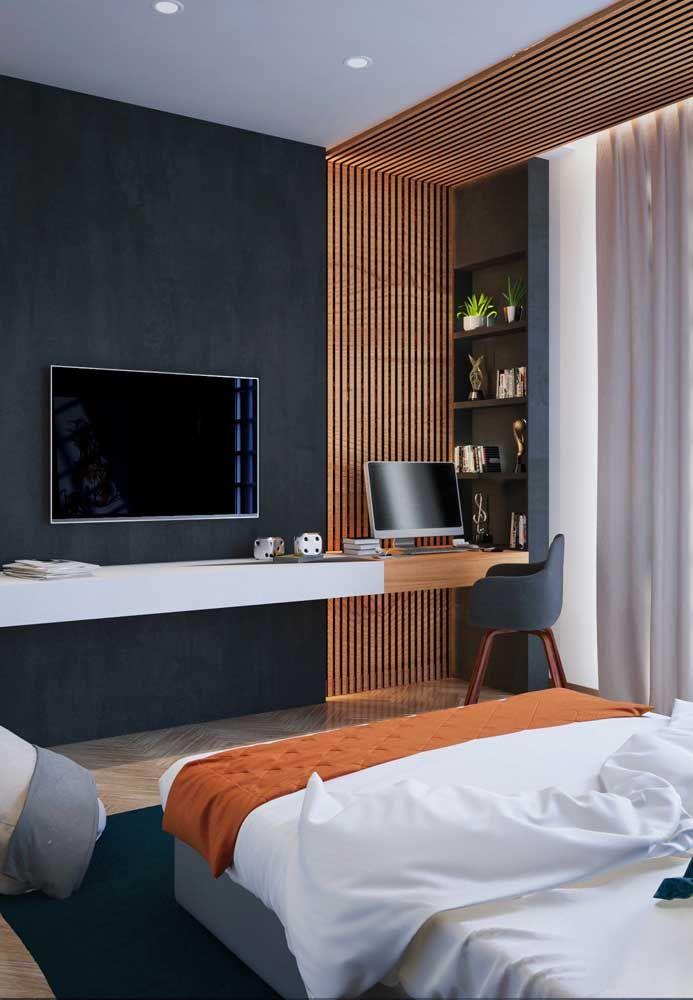 Um detalhe de madeira deixa o quarto de adolescente mais charmoso.