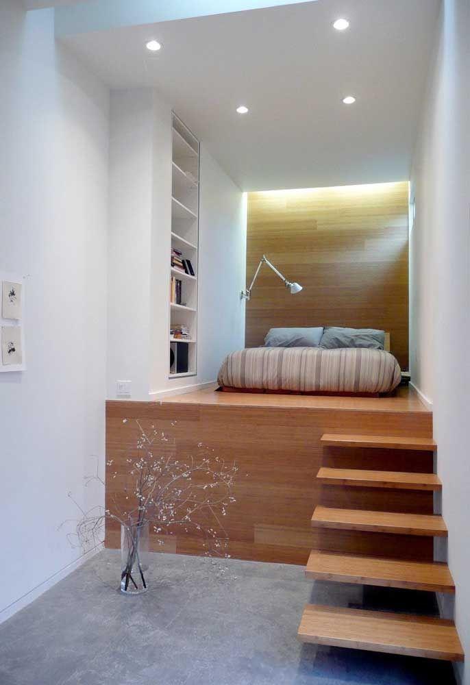 O quarto de adolescente no estilo loft.
