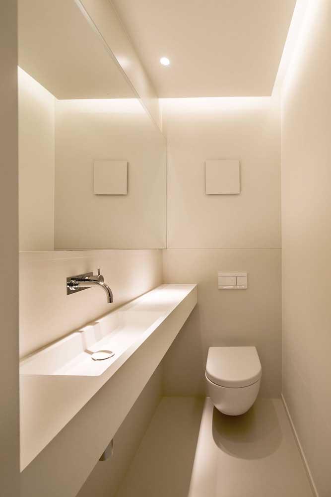 Lavabo decorado pequeno e clean; modelo ideal para quem busca um projeto de orçamento baixo sem deixar a elegância de lado