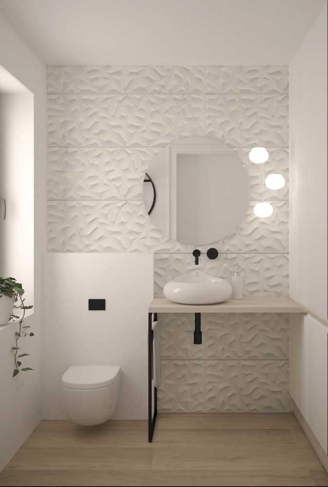 Placas de gesso integram parte desse projeto de lavabo decorado