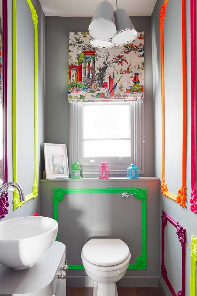 Quem ama cor sabe o quanto é difícil pensar em um lavabo monocromático; aqui, a inspiração são as peças de molduras pintadas em neon