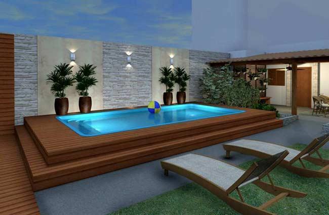Modelo tradicional de piscina de fibra
