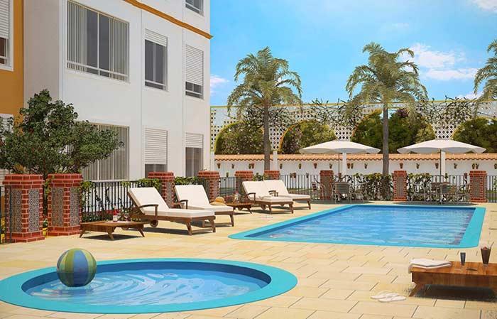 Condomínio residencial com piscina de fibra
