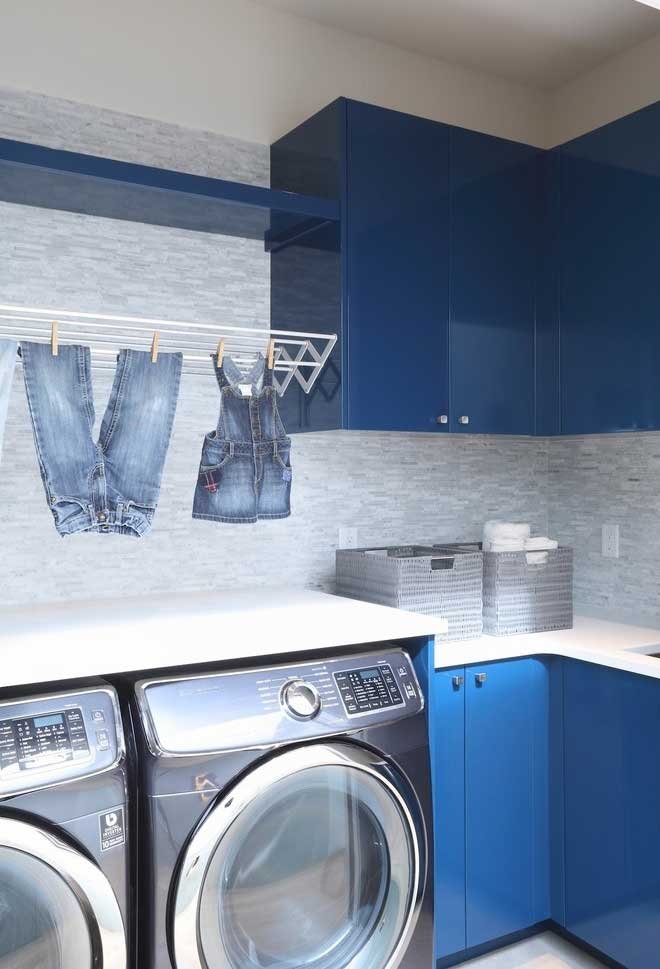 Azul e cinza para a lavanderia