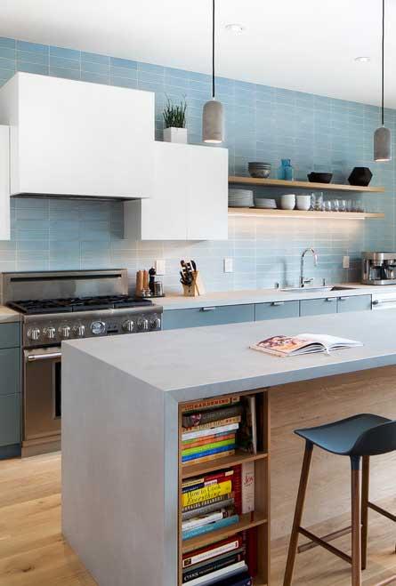 Azul claro para uma cozinha iluminada