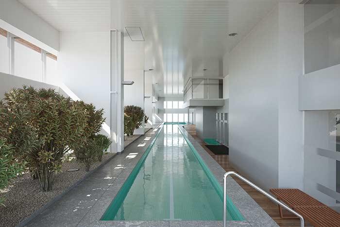 Cerca viva em piscina coberta
