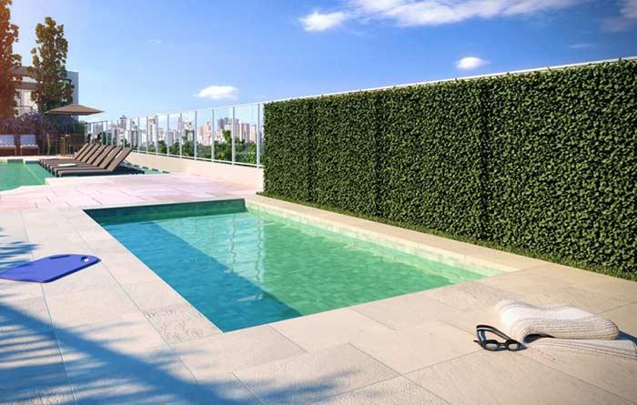 Muro fechado para ter privacidade na piscina